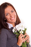 Smiling girl with flowers Royalty Free Stock Photos