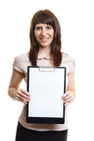 Smiling girl with a folder on a white background Stock Image
