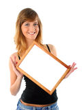Smiling girl with frame Royalty Free Stock Image
