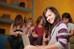 Smiling Girl With Friends Stock Photo