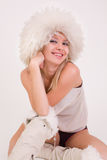 Smiling girl in funny disco outfit Royalty Free Stock Photography