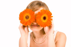 Smiling girl with gerber eyes. For your design Royalty Free Stock Images