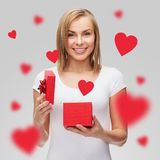 Smiling girl with gift box Stock Photo