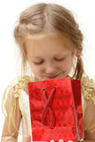 Smiling girl with gift box Royalty Free Stock Photo
