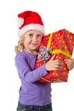Smiling girl with gift box stock images