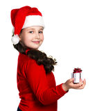 Smiling girl with gift box Royalty Free Stock Photography