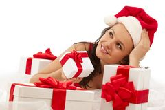 Smiling girl with gift boxes Stock Images