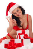 Smiling girl with gift boxes Royalty Free Stock Photography