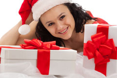 Smiling girl with gift boxes Royalty Free Stock Image