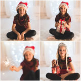 Smiling girl with gift boxes and sparkler Stock Photos