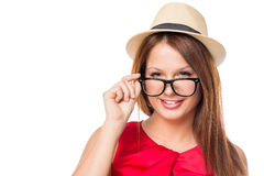 Smiling girl in glasses and a hat Stock Photos