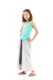 Smiling girl in gray long skirt Royalty Free Stock Photos