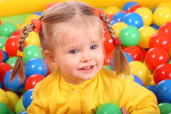 Smiling girl. Group of color ball back Royalty Free Stock Image