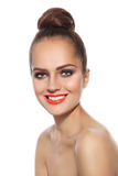 Smiling girl with hair bun Royalty Free Stock Image