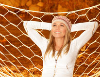 Smiling girl in hammock Royalty Free Stock Images