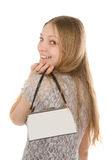 Smiling girl with handbag Royalty Free Stock Image