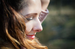 Smiling girl. Girl happily smiling sun first royalty free stock image