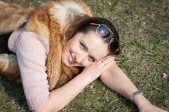Smiling girl. Girl happily smiling sun first Stock Photos