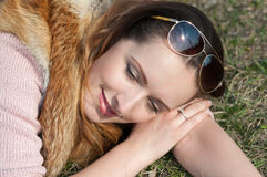 Smiling girl. Girl happily smiling sun first Royalty Free Stock Images