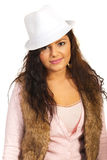 Smiling girl with hat Stock Photography