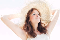 Smiling girl in hat Stock Photos