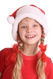 Smiling girl in hat of santa claus. Stock Image