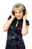 Smiling girl in headphones Stock Photo