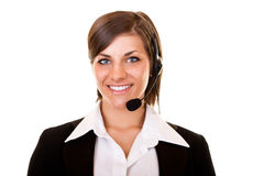 Smiling  girl with headset Stock Image