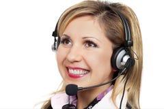 Smiling girl in headset stock image