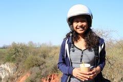Smiling girl in helmet stock images