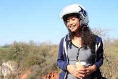 Smiling girl in helmet stock photos