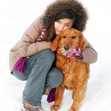 Smiling girl and her dog Stock Photo