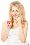 Smiling Girl holding Cake in her hands Royalty Free Stock Images