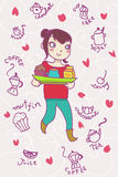 Smiling girl holding a full tray with cupcake and. Two beverages. Breakfast pink background Royalty Free Stock Image