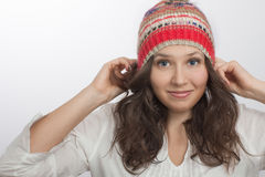 Smiling girl Holding  Own knitted hat Stock Photos