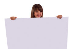Smiling Girl Holding Presentation Board. Stock Photography