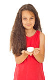 Smiling girl holding soap Royalty Free Stock Image