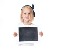 Smiling girl holding a white card,. Banner Stock Photography