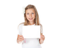 Smiling girl holding a white card,. Banner Stock Photo