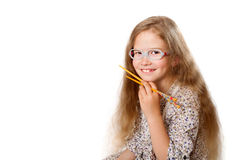 Smiling girl holds japanese chopsticks Stock Image