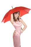 Smiling girl holds  red umbrella Stock Photo