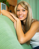 Smiling girl at home Royalty Free Stock Photography