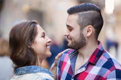 Smiling girl hugging her male Royalty Free Stock Photography