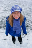 Smiling girl on ice skates. Stock Images