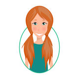 Smiling Girl. Icon with cute girl. Flat illustration Royalty Free Stock Photos