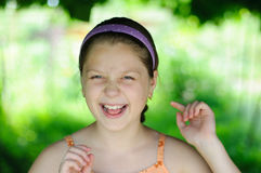 Smiling girl. An image of Sweet little girl outdoors royalty free stock image