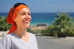 Smiling girl in kerchief and sunglasses Royalty Free Stock Image