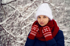Smiling girl in a knitted red scarf, white  hat and  mittens Royalty Free Stock Images