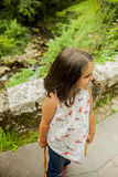 Smiling girl at the lakes in Covadonga, Asturias stock images