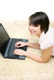 Smiling girl with laptop Stock Photo